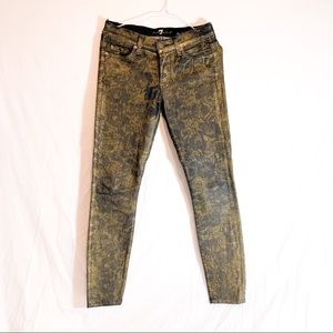 7 for all man Kind-blue jeans w/gold floral print